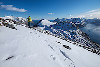 Female hiker hiking through spring snow near summit of Volandstind, Flakstadøy, Lofoten Islands, Norway