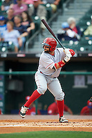 Louisville Bats catcher Raffy Lopez (9) at bat during a game against the Buffalo Bisons on June 20, 2016 at Coca-Cola Field in Buffalo, New York.  Louisville defeated Buffalo 4-1.  (Mike Janes/Four Seam Images)
