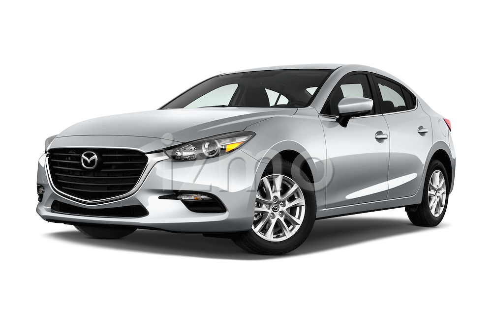 Stock pictures of low aggressive front three quarter view of 2017 Mazda Mazda3 Sport 4 Door Sedan Low Aggressive