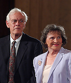 Washington, D.C. - September 12, 2005 -- John G. Roberts, Sr.,left, and Rosemary Roberts, right, parents of Judge John G. Roberts, Jr. as they are introduced during the start of the United States Senate Committee on the Judiciary hearing on the nomination of their son to be Chief Justice of the United States..Credit: Ron Sachs / CNP
