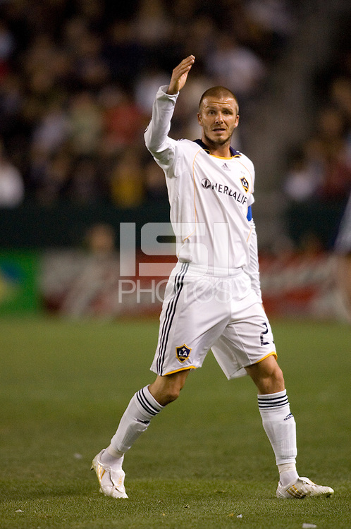 LA Galaxy midfielder & team captain David Beckham (23) gestures during a MLS match. The New York Red Bulls defeated the LA Galaxy 2-1 at Home Depot Center Stadium, in Carson, Calif., on Saturday, May 10, 2008.