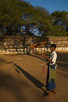 A local street vendor at the  famous and most impressive Ananda Temple in Bagan, Myanmar Burma
