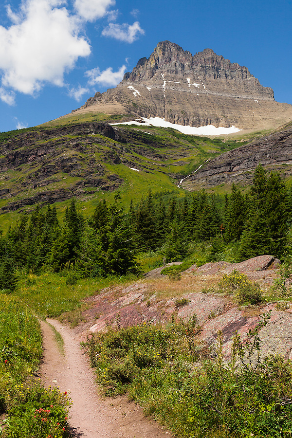 An empty Redrock Falls trail is seen on a bright sunny day with white puffy clouds in Glacier National Park, Montana.
