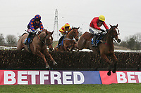 Glebehall Bay ridden by Aidan Coleman and winner Inga Bird (L) ridden by Jake Greenall jump the last in the Betfred Bonus Kings Novices' Handicap Chase at Huntingdon Racecourse, Brampton, Cambridgeshire