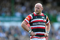 Dan Cole of Leicester Tigers looks on during a break in play. Aviva Premiership match, between Leicester Tigers and Bath Rugby on September 25, 2016 at Welford Road in Leicester, England. Photo by: Patrick Khachfe / Onside Images