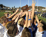 (Worcester, Ma 111613) Sutton High boys soccer team celebrates after beatingl Cohasset Middle  High 4-0, during the MIAA State Boys Division Four Final, Saturday, November 16, 2013, at Foley Stadium in Worcester. (Jim Michaud Photo) For Sunday