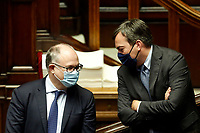 Italian minister of Economy Roberto Gualtieri and minister of European Affairs Vincenzo Amendola during the Premier speech about the European Council at the Chamber of Deputies. Rome (Italy), July 22nd 2020<br /> Foto Samantha Zucchi Insidefoto