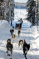 Grace Nolan on the trail on the way to the finish of the 2018 Junior Iditarod in Willow, Alaska. Sunday February 25, 2018<br /> <br /> Photo by Jeff Schultz/SchultzPhoto.com  (C) 2018  ALL RIGHTS RESERVED