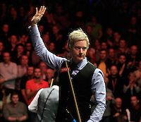 Neil Robertson waves to the crowd after bowing out of the Dafabet Masters Quarter Final 2 match between Judd Trump and Neil Robertson at Alexandra Palace, London, England on 15 January 2016. Photo by Liam Smith / PRiME Media Images.