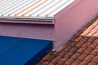 roof patterns and bright colors in La Placitas Village.