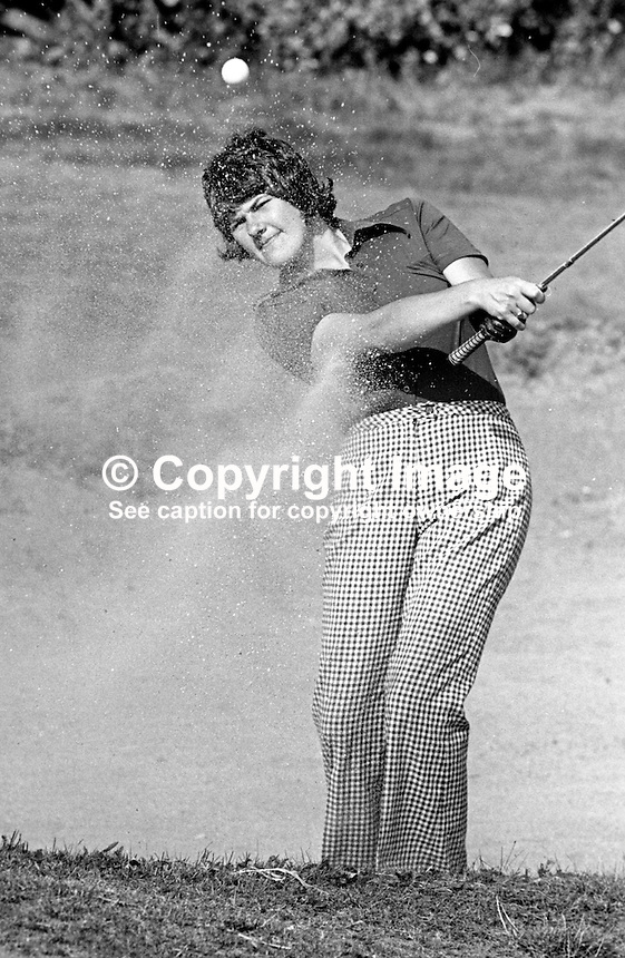 Claire Nesbitt, later known as Claire Robinson, Knock Golf Club, Belfast, N Ireland, Irish Ladies Golf Champion &amp; Ulster Ladies Golf Champion, August 1976, exits a bunker. 197608000372b<br /> <br /> Copyright Image from Victor Patterson, 54 Dorchester Park, Belfast, UK, BT9 6RJ<br /> <br /> t: +44 28 90661296<br /> m: +44 7802 353836<br /> vm: +44 20 88167153<br /> e1: victorpatterson@me.com<br /> e2: victorpatterson@gmail.com<br /> <br /> For my Terms and Conditions of Use go to www.victorpatterson.com