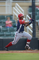 Israel Pineda (20) of the Hagerstown Suns follows through on his swing against the Kannapolis Intimidators at Kannapolis Intimidators Stadium on August 27, 2019 in Kannapolis, North Carolina. The Intimidators defeated the Suns 5-4. (Brian Westerholt/Four Seam Images)