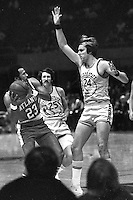 Golden State Warriors Rick Barry and Jim Barnett guarding Atlanta Hawk Lou Hudson,  (1972 photo/Ron Riesterer)