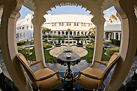 Gazebo with chairs and table overlooking the decorative garden of Taj Lake Palace in Udaipur, Rajasthan. (Photo by Matt Considine - Images of Asia Collection)