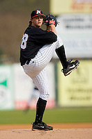 Joseph Serafin #38 of the Kannapolis Intimidators in action against the Winston-Salem Dash at Fieldcrest Cannon Stadium April 3, 2010, in Kannapolis, North Carolina.  Photo by Brian Westerholt / Four Seam Images