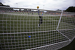 Edinburgh City goalkeeper Andrew Stobie, restored to the starting line-up for the trip to Annan, goes through his pre-match routine. The match ended in a 1-1 draw, watched by 351 spectators. City were still without a League win in the new season.