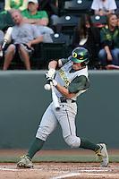 Brett Thomas #2 of the Oregon Ducks bats against the UCLA Bruins at Jackie Robinson Stadium on April 6, 2012 in Los Angeles,California. Oregon defeated UCLA 8-3.(Larry Goren/Four Seam Images)