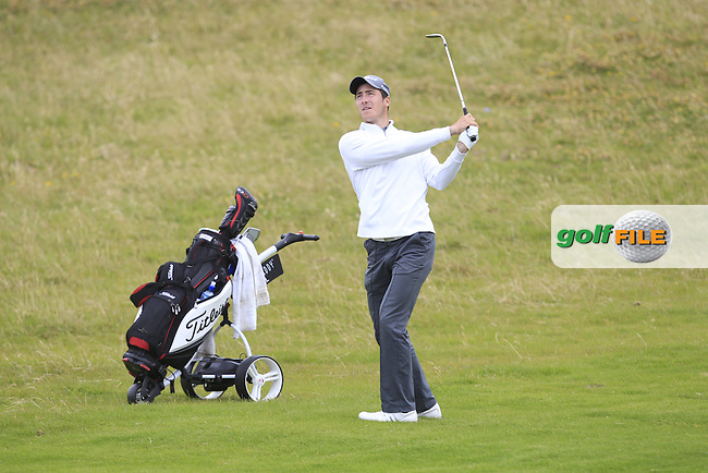 Jeff Hopkins (The Royal Dublin) on the 1st fairway during Matchplay Round 4 of the South of Ireland Amateur Open Championship at LaHinch Golf Club on Saturday 25th July 2015.<br /> Picture:  Golffile | TJ Caffrey