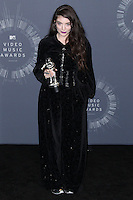 INGLEWOOD, CA, USA - AUGUST 24: Singer Lorde, winner of Best Rock Video for 'Royals,' poses in the press room at the 2014 MTV Video Music Awards held at The Forum on August 24, 2014 in the Inglewood, California, United States. (Photo by Xavier Collin/Celebrity Monitor)
