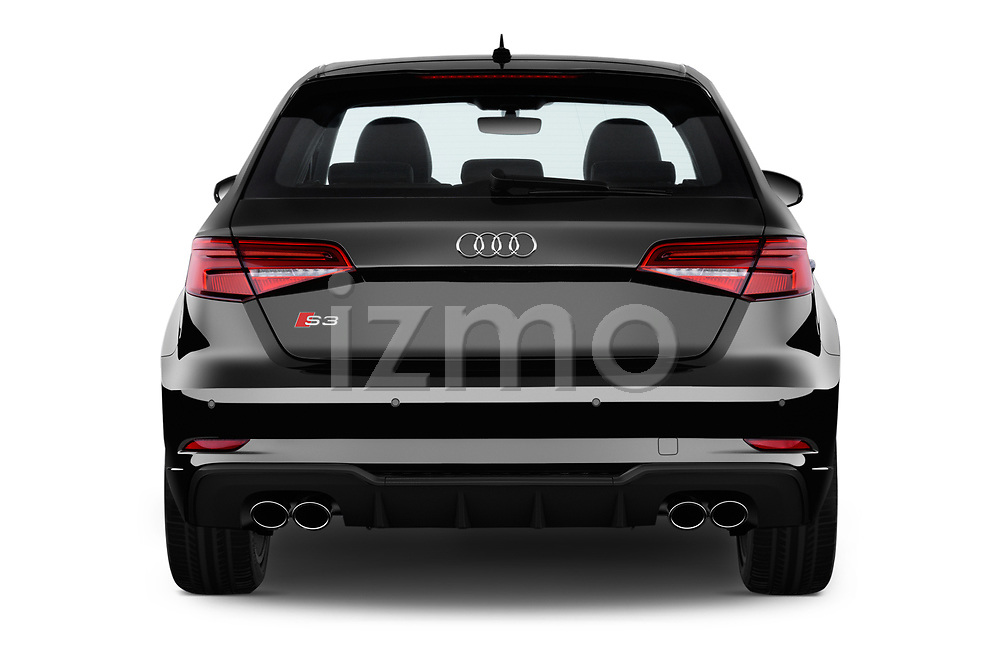 Straight rear view of a 2018 Audi S3 Sportback Base 5 Door Hatchback stock images