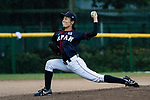 #17 Tanaka Shiori of Japan serves during the BFA Women's Baseball Asian Cup match between Pakistan and Japan at Sai Tso Wan Recreation Ground on September 4, 2017 in Hong Kong. Photo by Marcio Rodrigo Machado / Power Sport Images