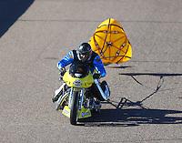 Feb 24, 2017; Chandler, AZ, USA; NHRA top fuel nitro Harley Davidson rider Mike Beland during qualifying for the Arizona Nationals at Wild Horse Pass Motorsports Park. Mandatory Credit: Mark J. Rebilas-USA TODAY Sports
