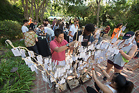 Matriculation Brunch Appointments for incoming first-years at the start of Occidental College's Fall Orientation for the class of 2021, Aug. 28, 2017. Students meet President Jonathan Veitch and other senior administrators in small groups over an informal meal in Mitchell Garden. They also add their wishes to the wishing tree.<br /> (Photo by Marc Campos, Occidental College Photographer)