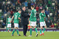 16th November 2019; Windsor Park, Belfast, County Antrim, Northern Ireland; European Championships 2020 Qualifier, Northern Ireland versus Netherlands; Northern Ireland coach Michael O'Neill and Craig Cathcart at the end of the match - Editorial Use