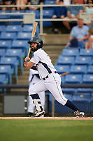 Binghamton Rumble Ponies second baseman Luis Guillorme (3) follows through on a swing during a game against the Altoona Curve on May 17, 2017 at NYSEG Stadium in Binghamton, New York.  Altoona defeated Binghamton 8-6.  (Mike Janes/Four Seam Images)