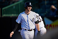Jackson Generals Drew Ellis (29) after scoring a run during a Southern League game against the Mississippi Braves on July 23, 2019 at The Ballpark at Jackson in Jackson, Tennessee.  Jackson defeated Mississippi 2-0 in the first game of a doubleheader.  (Mike Janes/Four Seam Images)