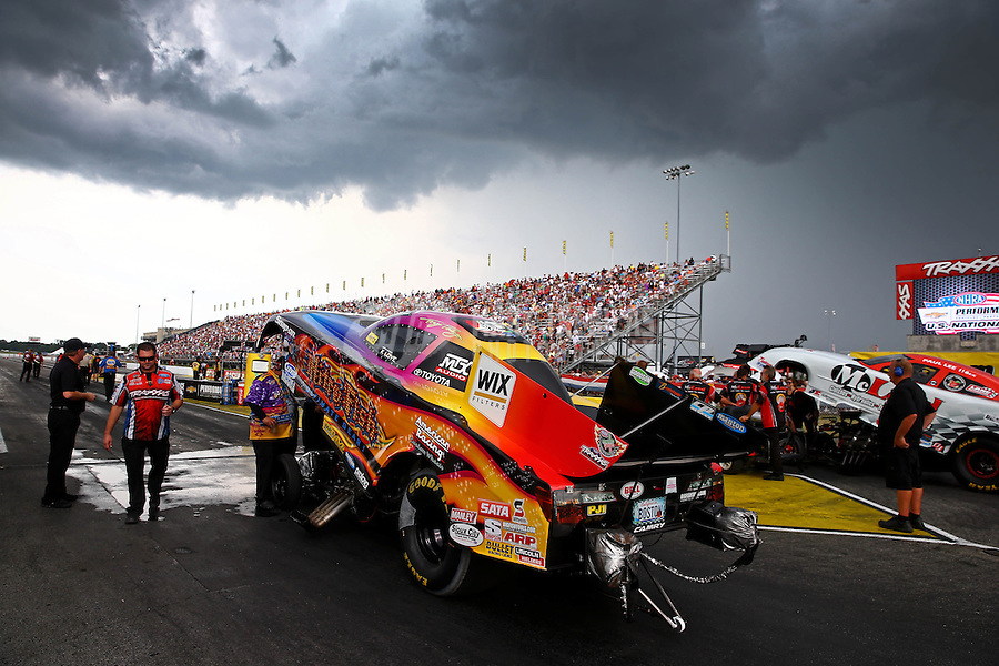 Aug. 31, 2013; Clermont, IN, USA: NHRA funny car driver Tony Pedregon during qualifying for the US Nationals at Lucas Oil Raceway. Mandatory Credit: Mark J. Rebilas-