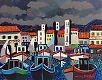 France; St Jean du Luz<br /> 11x14 Acrylic on Canvas Original Painting<br /> $5,500