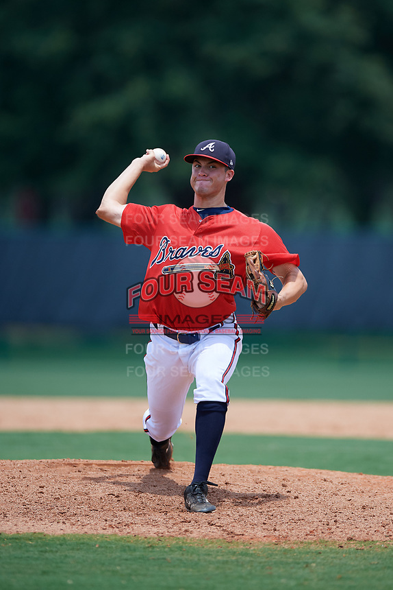 GCL Braves relief pitcher Jackson Lourie (54) delivers a pitch during a game against the GCL Pirates on July 27, 2017 at ESPN Wide World of Sports Complex in Kissimmee, Florida.  GCL Braves defeated the GCL Pirates 8-6.  (Mike Janes/Four Seam Images)