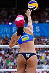 26.08.2017, Hamburg, Stadion Am Rothenbaum<br />Beachvolleyball, World Tour Finals<br /><br />Aufschlag / Service Agatha Bednarczuk (#1 BRA)<br /><br />  Foto © nordphoto / Kurth