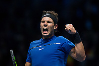 Rafael Nadal of Spain (1) celebrates winning a key point against David Goffin of Belgium (7) during their Pete Sampras group match<br /> <br /> Photographer Craig Mercer/CameraSport<br /> <br /> International Tennis - Nitto ATP World Tour Finals - O2 Arena - London - Day 2  - Monday 13th November 2017<br /> <br /> World Copyright &copy; 2017 CameraSport. All rights reserved. 43 Linden Ave. Countesthorpe. Leicester. England. LE8 5PG - Tel: +44 (0) 116 277 4147 - admin@camerasport.com - www.camerasport.com