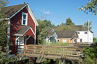 Restored worker's stilt houses in the Britannia Heritage Shipyard park, Steveston, British Columbia, Canada