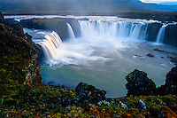 Iceland. The spectacular Goðafoss waterfall in the Skjálfandafljót river.