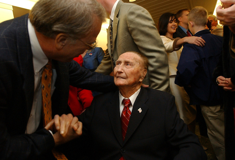 Thurmond3/120502 -- Sen. Strom Thurmond, R-S.C., is greeted by his nephew, Billy Thurmond of North Augusta, S.C., before the Senator's 100th birthday party, Thursday.