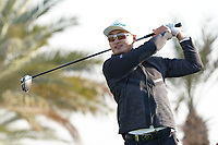 Haotong Li (CHN) on the 9th tee during the Pro-Am of the Abu Dhabi HSBC Championship 2020 at the Abu Dhabi Golf Club, Abu Dhabi, United Arab Emirates. 15/01/2020<br /> Picture: Golffile | Thos Caffrey<br /> <br /> <br /> All photo usage must carry mandatory copyright credit (© Golffile | Thos Caffrey)