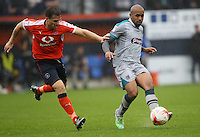Johnny Mullins of Luton Town and Ashley Chambers of Grimsby Town during the Sky Bet League 2 match between Luton Town and Grimsby Town at Kenilworth Road, Luton, England on 10 September 2016. Photo by Harry Hubbard / PRiME Media Images.