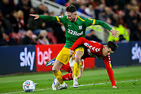 Preston North End's Alan Browne is fouled by Middlesbrough's Mo Besic<br /> <br /> Photographer Alex Dodd/CameraSport<br /> <br /> The EFL Sky Bet Championship - Middlesbrough v Preston North End - Wednesday 13th March 2019 - Riverside Stadium - Middlesbrough<br /> <br /> World Copyright &copy; 2019 CameraSport. All rights reserved. 43 Linden Ave. Countesthorpe. Leicester. England. LE8 5PG - Tel: +44 (0) 116 277 4147 - admin@camerasport.com - www.camerasport.com