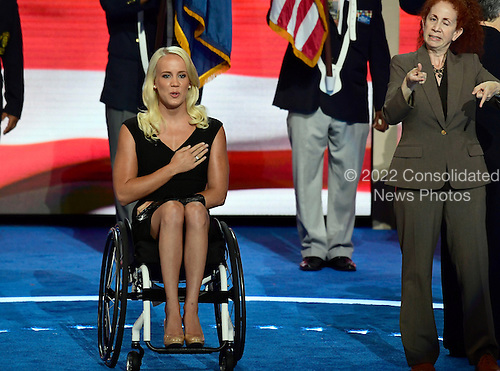 Mallory Weggemann leads the Pledge of Allegiance to open the second session of the 2016 Democratic National Convention at the Wells Fargo Center in Philadelphia, Pennsylvania on Tuesday, July 26, 2016.<br /> Credit: Ron Sachs / CNP<br /> (RESTRICTION: NO New York or New Jersey Newspapers or newspapers within a 75 mile radius of New York City)