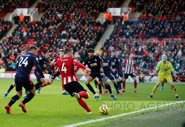 John Fleck of Sheffield Utd gets in a cross during the Premier League match at Bramall Lane, Sheffield. Picture date: 9th February 2020. Picture credit should read: Simon Bellis/Sportimage