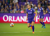 Orlando, FL - Saturday March 24, 2018: Orlando Pride defender Shelina Zadorsky (4) looks for options as she dribbles away during a regular season National Women's Soccer League (NWSL) match between the Orlando Pride and the Utah Royals FC at Orlando City Stadium. The game ended in a 1-1 draw.