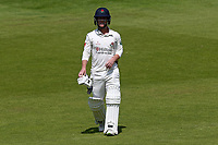 Alex Davies of Lancashire leaves the field having been dismissed for 0 during Lancashire CCC vs Essex CCC, Specsavers County Championship Division 1 Cricket at Emirates Old Trafford on 11th June 2018