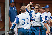 19 August 2010: Andy Pitcher of Team France congratulates Sebastien Duchossoy during France 7-6 win over Slovakia, at the 2010 European Championship, under 21, in Brno, Czech Republic.