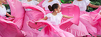 Girls dancing traditional Mexican folklore dance, Northwest Folklife Festival 2016, Seattle Center, Washington, USA.