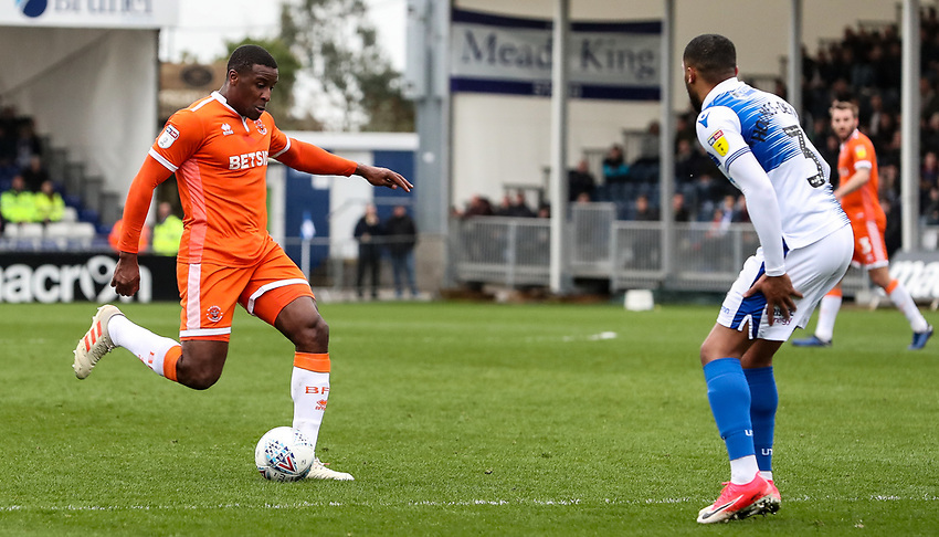 Blackpool's Donervon Daniels shoots<br /> <br /> Photographer Andrew Kearns/CameraSport<br /> <br /> The EFL Sky Bet League Two - Bristol Rovers v Blackpool - Saturday 2nd March 2019 - Memorial Stadium - Bristol<br /> <br /> World Copyright © 2019 CameraSport. All rights reserved. 43 Linden Ave. Countesthorpe. Leicester. England. LE8 5PG - Tel: +44 (0) 116 277 4147 - admin@camerasport.com - www.camerasport.com