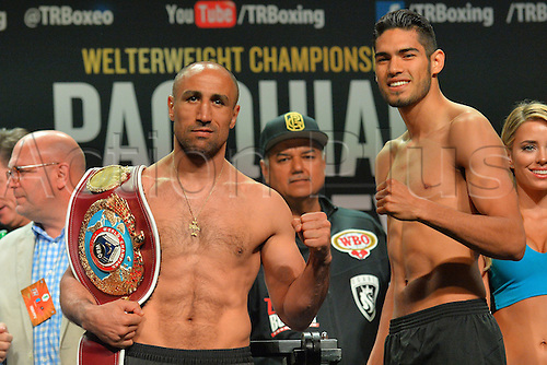08.04.2016. Las Vegas, Nevada, USA.  WBO Super Middleweight Champion Arthur Abraham and Gilberto Ramirez (Mazatlan, Mexico) pose for photos during the official pre-fight weigh in at the MGM Grand Garden Arena at the MGM Grand Hotel and Casino in Las Vegas, Nevada. Arthur Abraham will defend his Super Middleweight WBO World Title against Gilberto Ramirez (Mazatlan, Mexico) on Saturday, April 9, 2016 at the MGM Grand Garden Arena in Las Vegas, Nevada, USA.