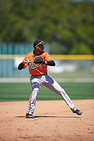 Baltimore Orioles Irving Ortega (26) throws to first base during a minor league Spring Training game against the Minnesota Twins on March 17, 2017 at the Buck O'Neil Baseball Complex in Sarasota, Florida.  (Mike Janes/Four Seam Images)